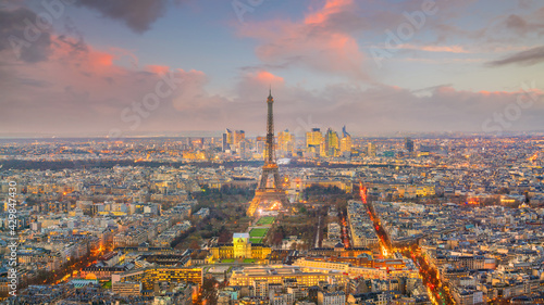 Fotografering Skyline of Paris with Eiffel Tower at sunset in France