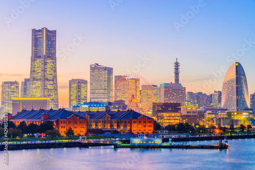 Yokohama skyline city - fototapety na wymiar