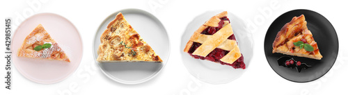 Obraz Set with pieces of different delicious pies on white background, top view. Banner design - fototapety do salonu