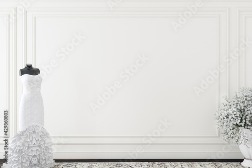 Tablou Canvas Wedding dress on a blank wall background, 3d render