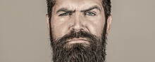 Portrait Brutal Bearded Man. Portrait Of Masculinity. Sexy Look Of Male. Hipster Man With Beard, Mustache. Handsome Brutal Male. Sexy Closeup Portrait Of Brutal Handsome Male, Black Beard