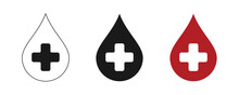 Blood Drop Icons Set. Cross And Donation.