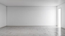 Idea Of A White Empty Scandinavian Room Interior Illustration 3D Rendering With Wooden Floor And Large Wall And White