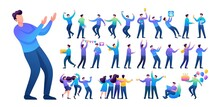 Set Of A Fun Teen Man. Presentation In Various In Various Poses And Actions. 2D Flat Character Vector Illustration N13
