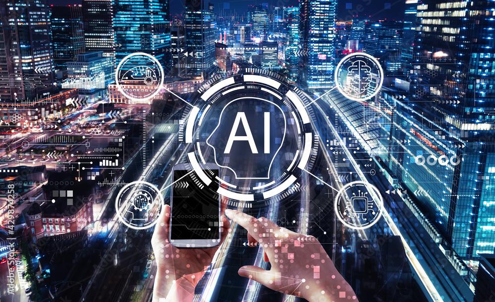 Fototapeta AI concept with person using smartphone