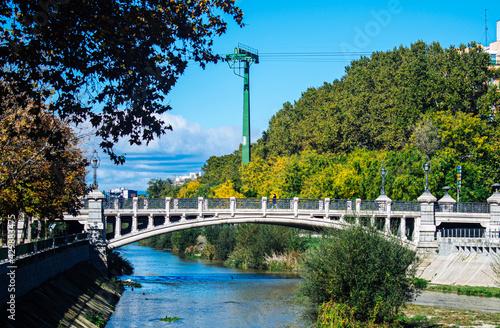Fototapeta The Queen Victoria Bridge in Madrid Spain over the Manzanares River