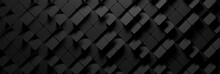Wide Banner With Many Random Square Hexagons In Charcoal Dark Black Color