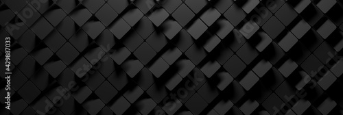 Wide banner with many random square hexagons in charcoal dark black color - fototapety na wymiar