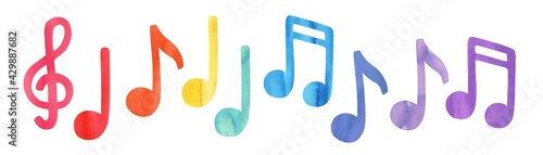 Photo Colourful music note symbols of different color: pink, red, orange, yellow, green, blue, cyan, purple, violet