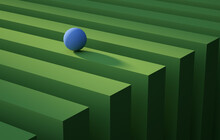Geometric Blue Sphere Rolling Over A Green Stripe. Abstract Background Concept. 3d Render