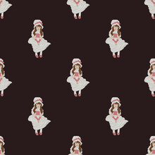 Seamless Pattern With Pretty Little Girls In Vintage Dress. Victorian Or Edwardian England. Penelope Boothby Style.