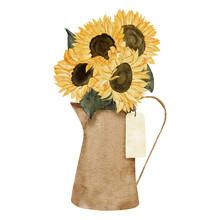 Watercolor Sunflower Bouquet Illustration With Teapot Vase