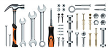 Realistic Mechanic Tools. 3D Construction Instrument Set. Metal Wrench And Hummer, Isolated Screwdriver. Iron Nails Or Screws With Dowels. Hex Nuts And Eye Hook. Vector Hardware Store