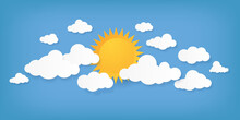 Paper Cut Clouds. Origami Cloudscape. Sun And Cloudy Shapes On Blue Background. Creative Minimal Applique. Sunny Weather Forecast Mockup. Summer Daytime Sky. Vector Natural Illustration