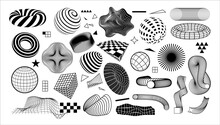 Modern Geometric Shapes. Abstract Graphic Elements With Dynamic Effects. Minimal Black And White Forms Set. Concentric Circles Or Grid Textures. Vector Checkered And Striped Figures