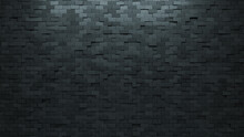 Concrete, Futuristic Wall Background With Tiles. Polished, Tile Wallpaper With 3D, Rectangle Blocks. 3D Render