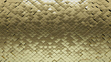 Arabesque, Gold Mosaic Tiles Arranged In The Shape Of A Wall. Glossy, 3D, Bullion Stacked To Create A Polished Block Background. 3D Render