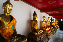 Bangkok, Thailand - January 19.2019 : Buddha Statues In The Wat Pho Buddhist Temple In Phra Nakhon District, Bangkok, Thailand. It Is Located In The Rattanakosin District Directly Adjacent To The Gran