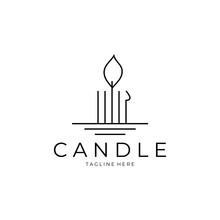 Candle Logo Line Art Vector Illustration Design