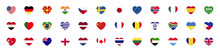 Set Country National Flag In Heart Form. Collection Flags Of Different Countries Icon - Stock Vector