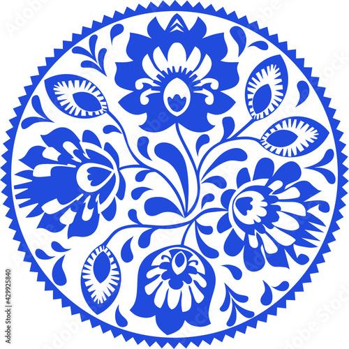 Fotografie, Obraz Flower rosette. Traditional Polish folk pattern