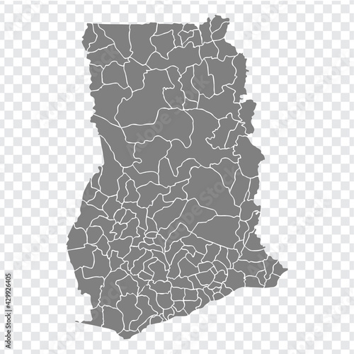 Fototapeta Blank map Ghana. Districts of Ghana map. High detailed vector map  on transparent background for your web site design, app, UI. EPS10.  obraz