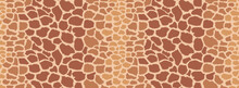 Animal Seamless Pattern. Giraffe Hide. Animal Skin Texture With Brown Spots On A Yellow Background. Mammal Fur. Leather Print. Camouflage Predator. Vector Illustration.