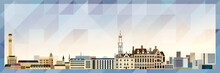 Bradford Skyline Vector Colorful Poster On Beautiful Triangular Texture Background