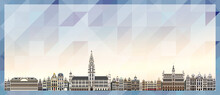 Brussels Skyline Vector Colorful Poster On Beautiful Triangular Texture Background