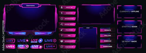 Obraz na plátně Vector streaming screen panel overlay game template neon theme