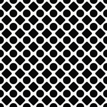 Black Rhombuses And Circles Pattern. Vector Seamless And Monochrome Ornament.