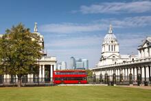 Central London Scene With Double Decker Bus. Greenwich, London, UK