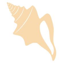 Boho Sea Shell. Isolated On White Background. Flat Style Vector Illustration.