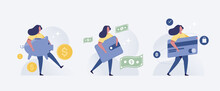 Save Money People Concept.  Woman Holding Money And Credit Card. Vector Illustration