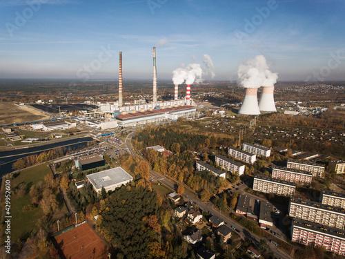 Fototapeta Przemysł, elektrownia, city, budynki, work day. obraz