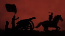 Illustration Of A Battlefield With Toy Soldier Silhouettes Using Canons And Riding Horses
