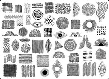 Abstract Black Color Geometric Dot  Line And Curves Art Shapes And Forms, Spotted Doodles Set, Isolated Vector Illustration Graphics