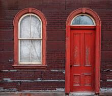 Old Red Wooden Door And Windows Railway Station Lakefield Ontario