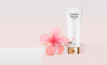 3D Realistic Cream Tube With Hibiscus Flower For Fashion Cosmetics Product For Ads, Banner Or Magazine Background. Vector Iillustration