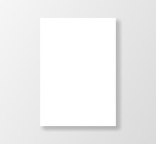 Blank White Paper Design Template. White Poster Mockup Isolated On Gray Background.