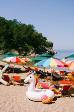 Sun Umbrellas And Sun Loungers On The Royal Beach In Przno Against The Backdrop Of Green Trees