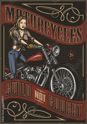 Vintage motorcycle colorful poster - fototapety na wymiar