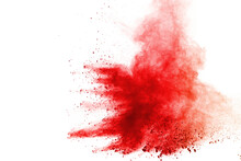 Abstract Red Powder Explosion On White Background