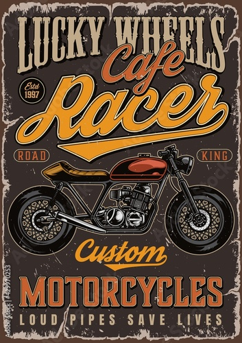 Fotografia Cafe racer motorcycle colorful poster