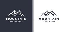 Mountain Logo With Cool Line Art Concept, Outdoor, Outline, Park, Premium Vector