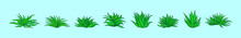 Set Of Maguey Plant Cartoon Icon Design Template With Various Models. Vector Illustration Isolated On Green Background