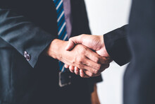 Business People Agreement Concept. Businessman Do Handshake With Another Businessman In The Office Meeting Room.