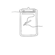 Hand Drawn Doodle Clipboard Paper And Pen Isolated In Continuous Line Art Style Vector