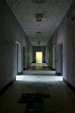 Empty Hallway Inside An Abandoned Mental Asylum