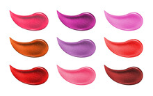 Collection Of Various Smears Lipstick Isolated On White. Beauty And Cosmetics Background. Pink Lip Gloss Strokes
